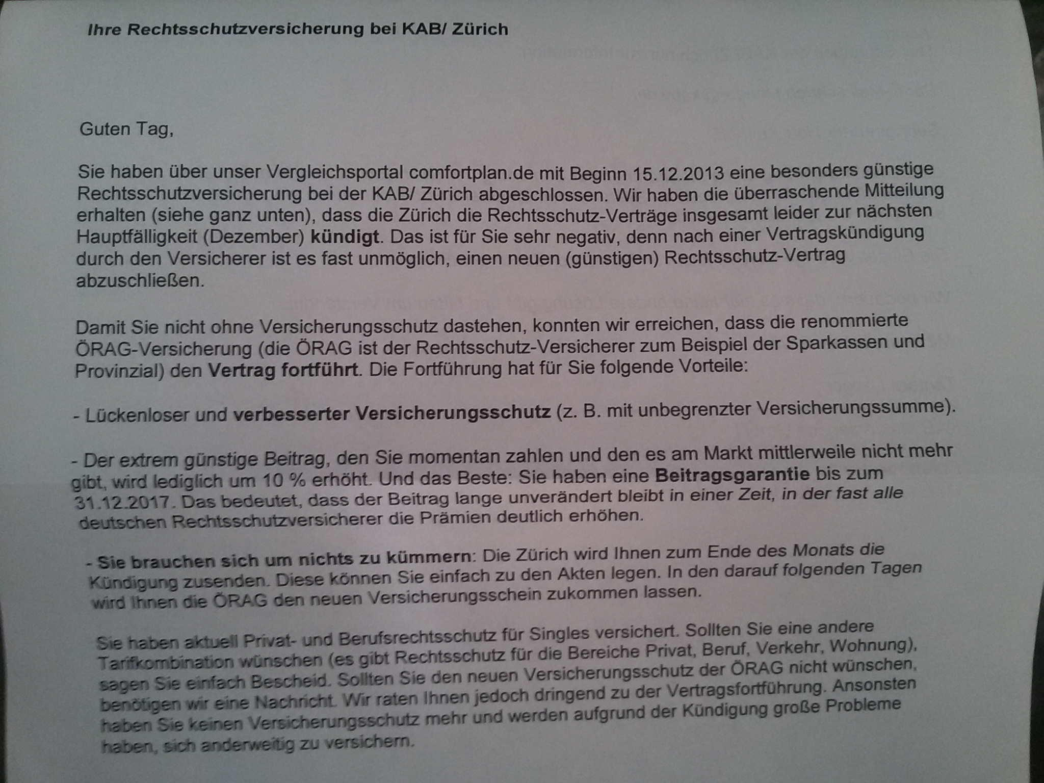 Pauschale Kündigung Durch Rechtsschutzversicherung Zurichkab