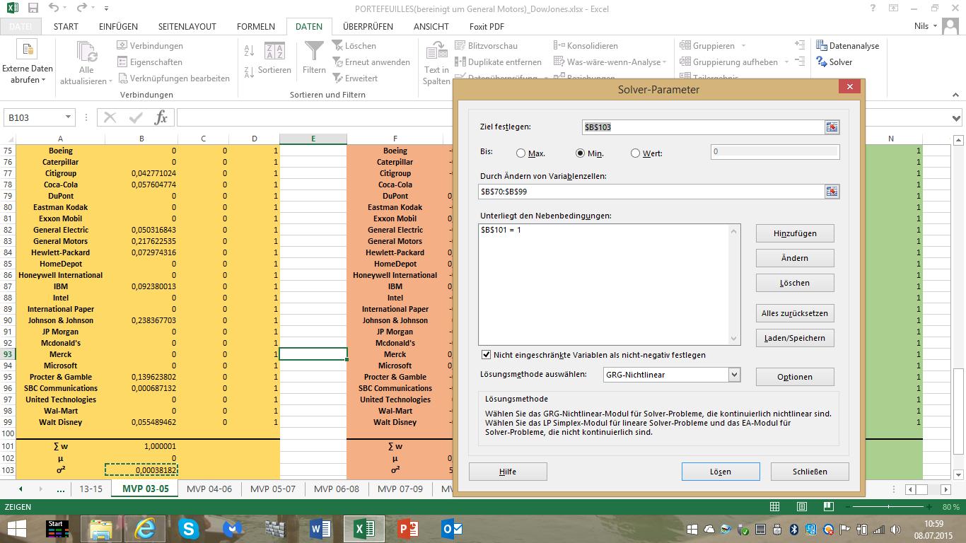 Minimum-Varianz-Portfolio nach Markowitz über Excel Solver - Suche ...