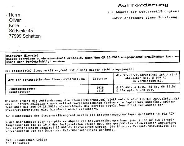 43 11006 kb - Anschreiben Steuererklarung
