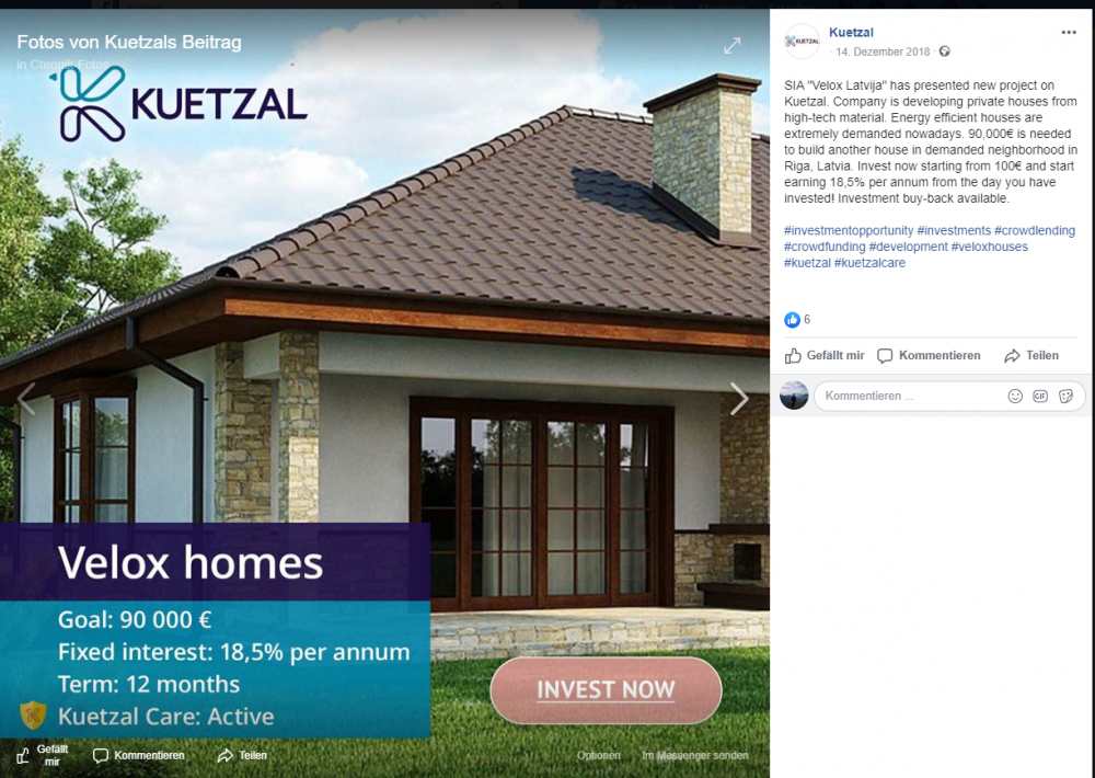 Velox homes - Ad on Facebook (from official Kuetzal Facebook page).PNG